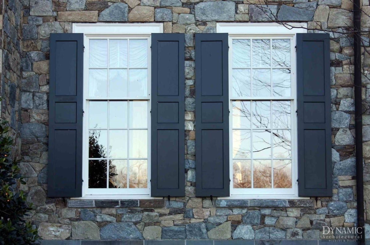 double hung windows with true divided lites and shutters