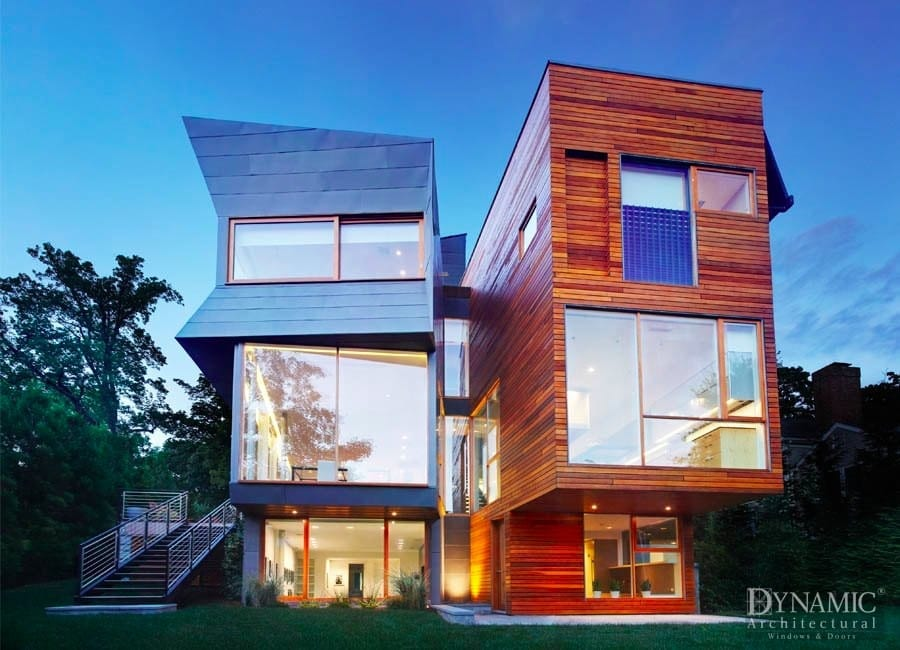 Wood Storefront Windows in Modern New Canaan Home