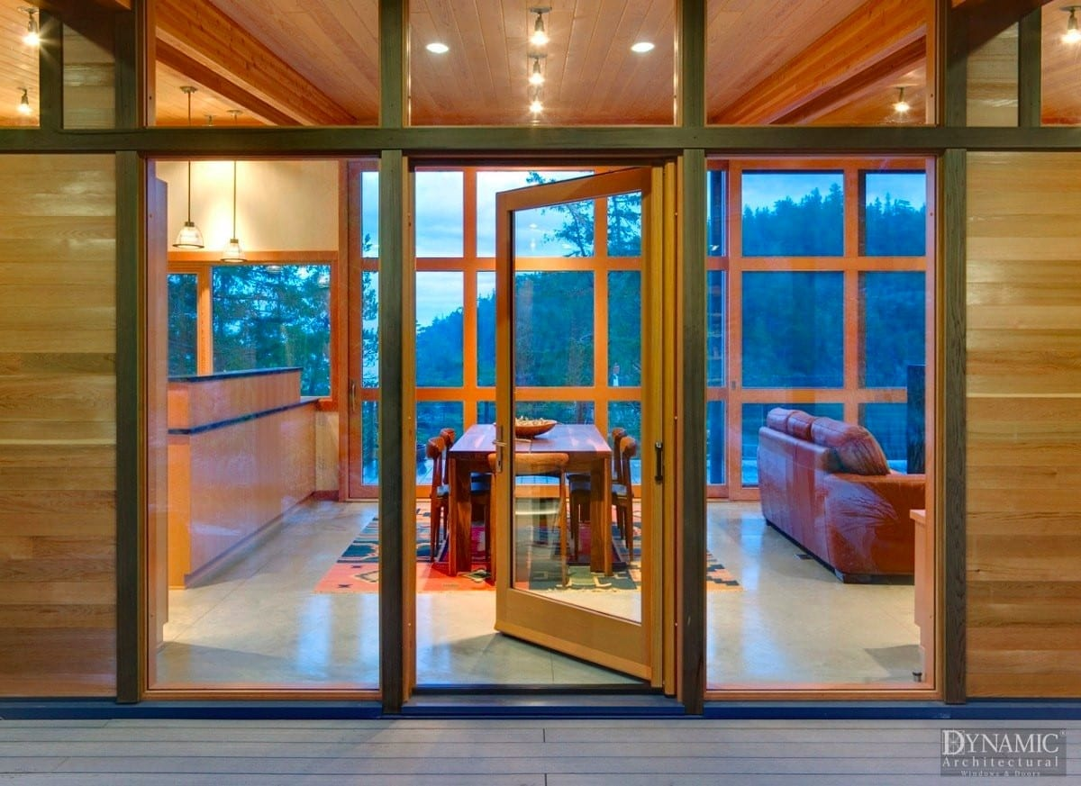 Oversized contemporary wood hinged door