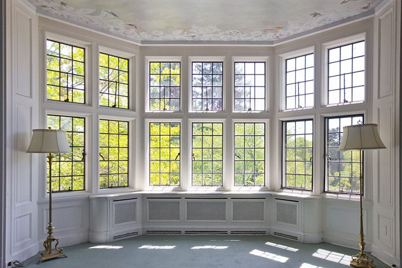 Leaded Glass Overlay Windows in Traditional Home