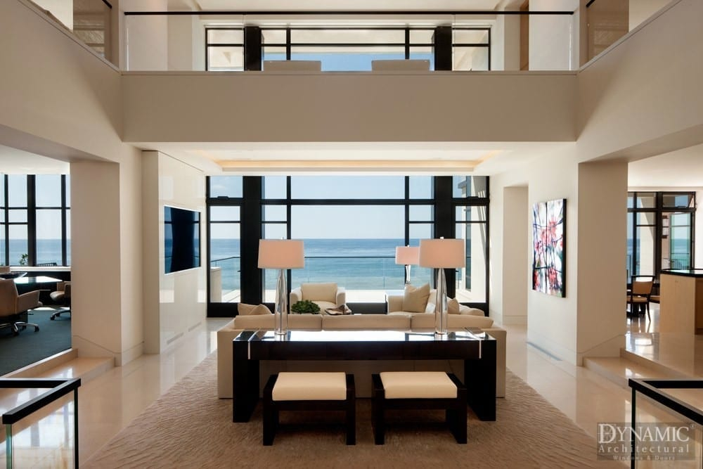 Modern living room ocean view