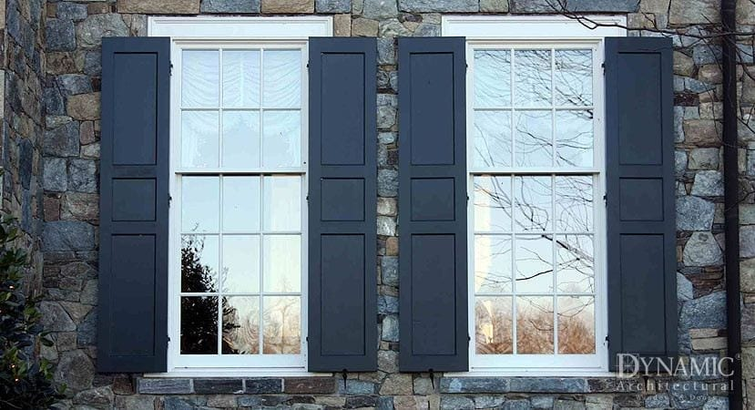 Traditional Double Hung Windows with Shutters