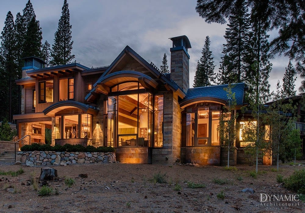 Rustic Custom Home with Wood Storefront Window
