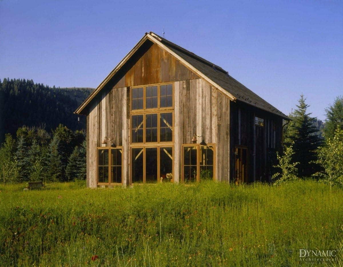 Rustic Barn-style House with Wood Windows