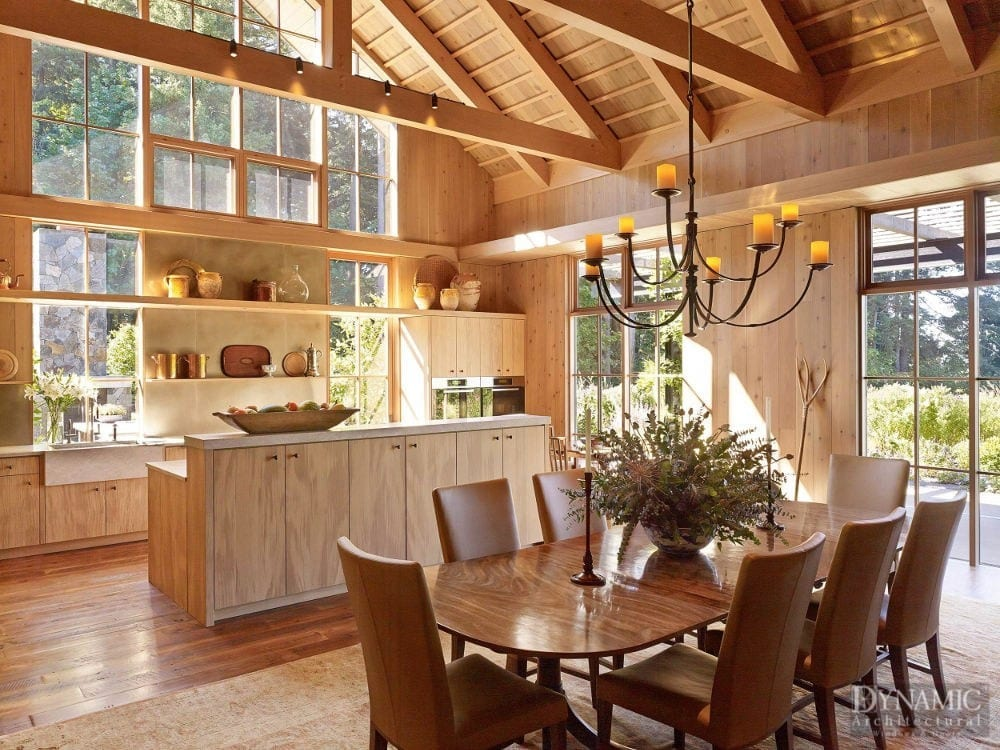 Rustic Modern Kitchen with Window Wall