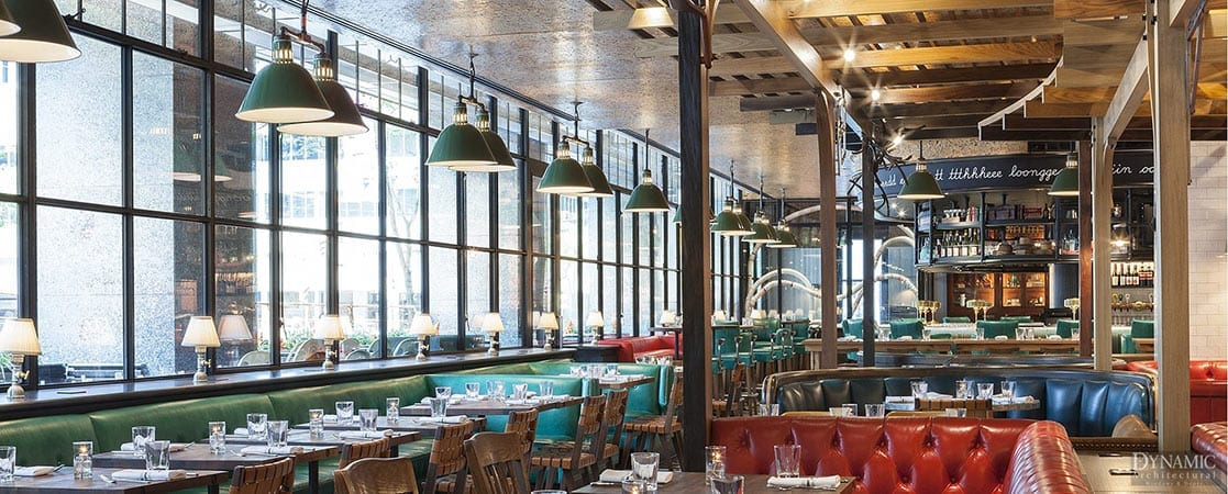 Steel Windows in Trendy Restaurant