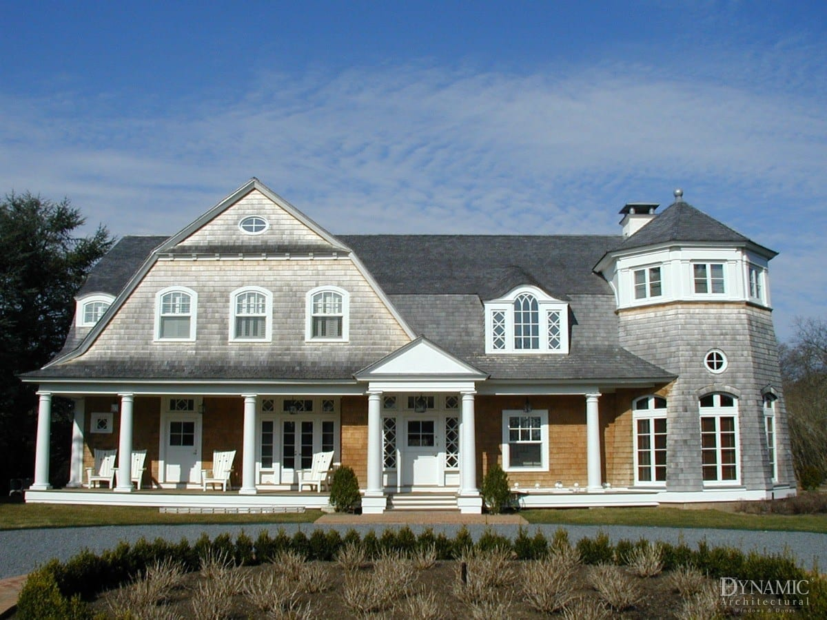custom designed traditional wood windows in Cape Code style home