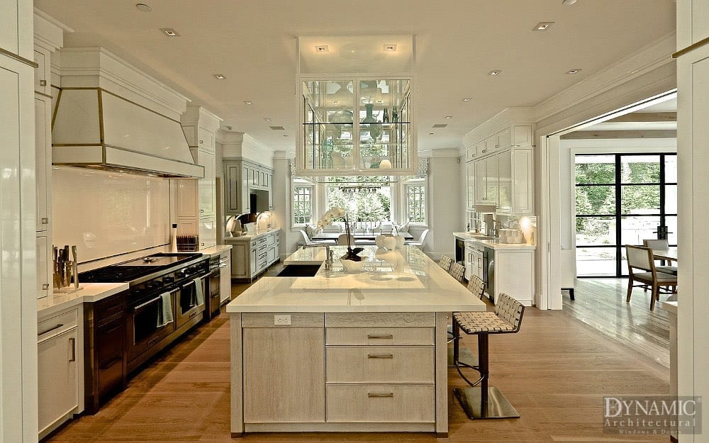Modern Kitchen with Steel French Doors in background