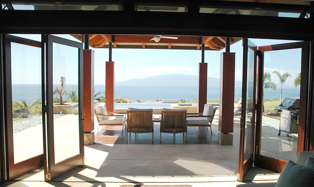 wood folding doors in coastal Hawaii home