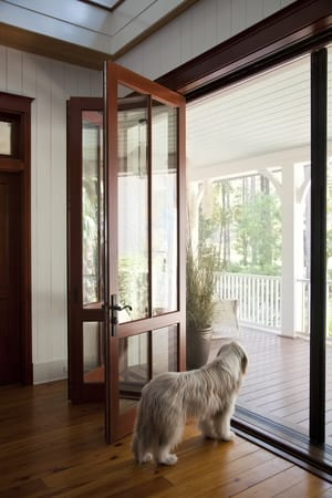bi-folding exterior doors with glass