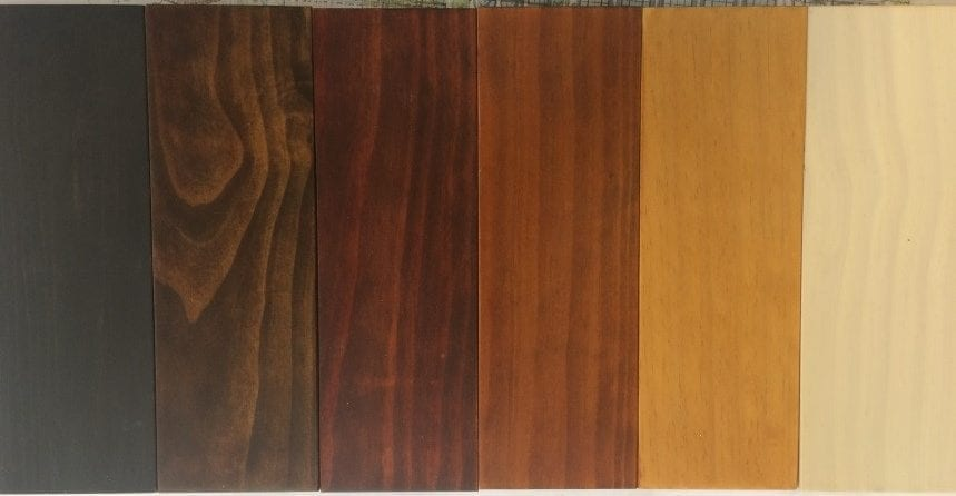 "Stain finishes on Accoya. Note the ""Shou Sugi Ban"" aesthetic on the far left."